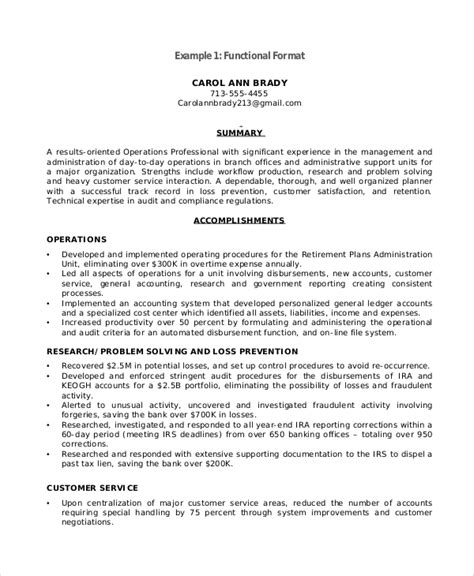 functional resume template pdf functional resume sle 9 exles in pdf