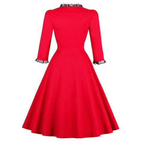 a line swing dress women s vintage red square neck 3 4 length sleeve a line