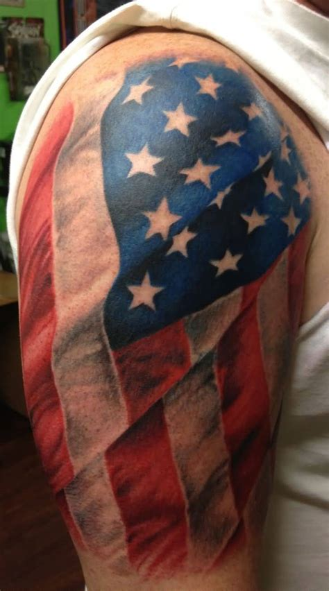american flag shoulder tattoos 40 us flag tattoos on shoulder