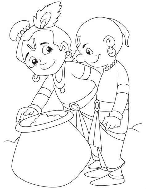 free coloring pages of animated lord krishna