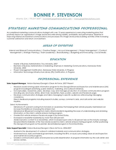 Marketing Communications Specialist Sle Resume by Bonnie Stevenson Marketing Communications Strategist Resume