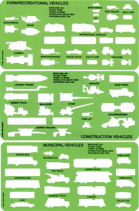 large vehicle template set police traffic templates