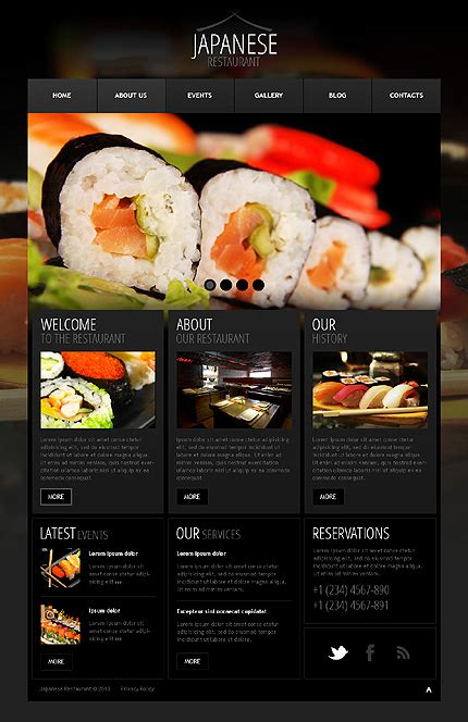 30 sushi bar restaurant website templates