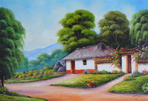 imagenes para pintar oleo pinturas al oleo de paisajes con casas de pueblos car