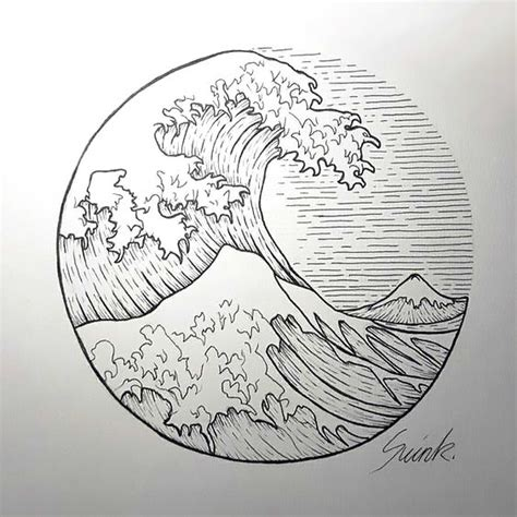 wave in circle tattoo design