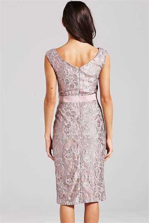 Dress Lace Grey grey lace bardot dress from uk