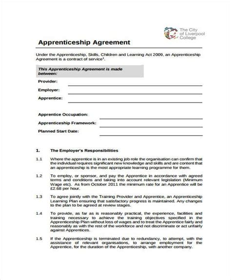 how to make an apprenticeship contract agreement free