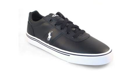 polo leather sneakers polo ralph hanford black leather sneakers in black
