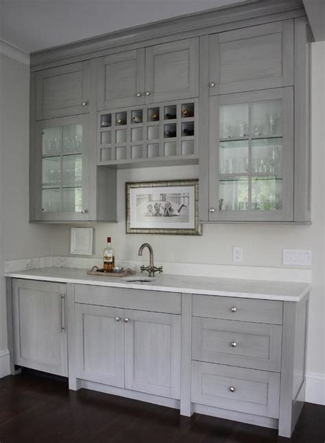 Butler Pantry Cabinets by Grey Butlers Pantry With Built In Wine Rack Transitional Kitchen