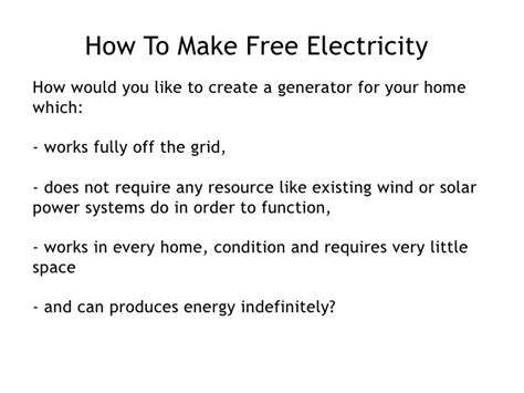 how to make free electricity