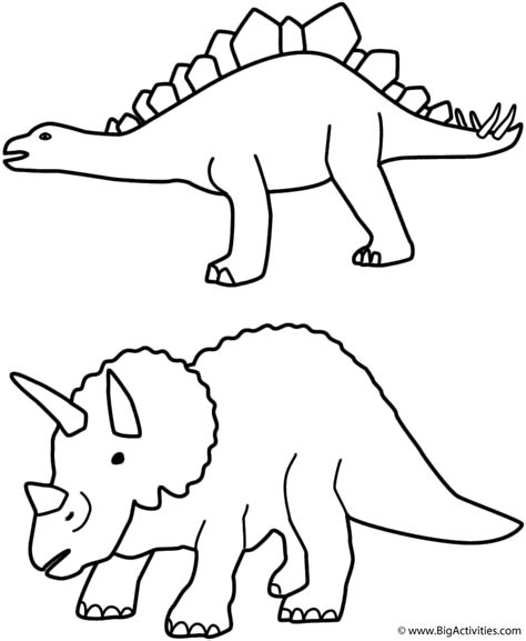 birthday dinosaur coloring page stegosaurus and triceratops coloring page birthday