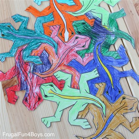 Sturdy Table Print And Color Tessellation Puzzles For Kids Frugal Fun
