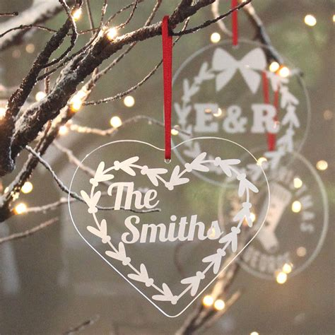 personalised name heart christmas decoration by becky