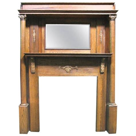 Revival Fireplace Mantel by Revival Style Oak Mantel With Beveled Mirror And