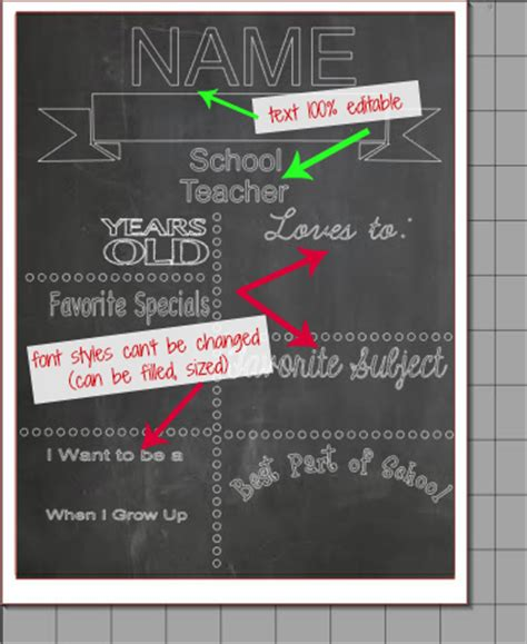 Chalkboard Printables Template Free Silhouette Studio Cut File Silhouette School 2nd Birthday Chalkboard Template