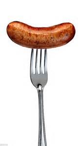 phallic shaped sausages labelled as 8 inch bangers on