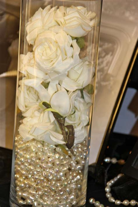 pearl themed events roaring twenties wedding party ideas pearl centerpiece