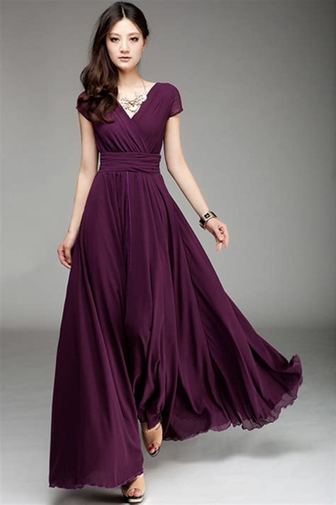 Dress Maxi Purple Elegan surplice v neckline maxi chiffon dress oasap