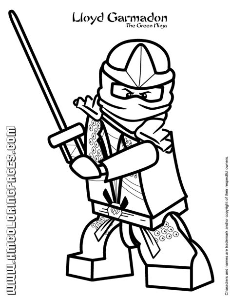 lego ninjago coloring pages kai dx lloyd garmadon the green ninja coloring page h m