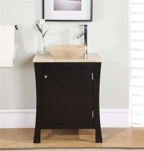 26 inch modern vessel sink bathroom vanity in espresso