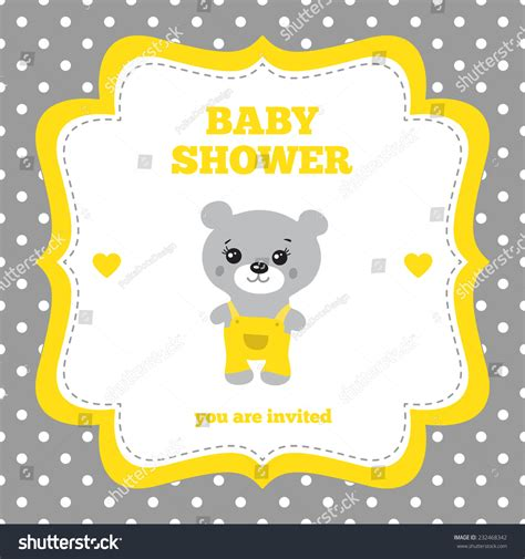 Baby Shower Invitation Template Gray Yellow And White Colors Illustration Of Little Teddy Yellow And White Baby Shower Invitation Templates