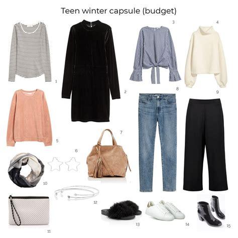 create  teenage winter capsule wardrobe   budget