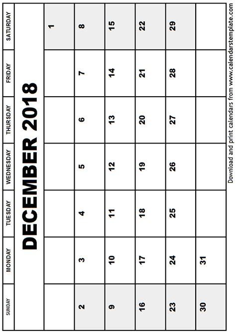 free printable december calendar template december 2018 calendar template