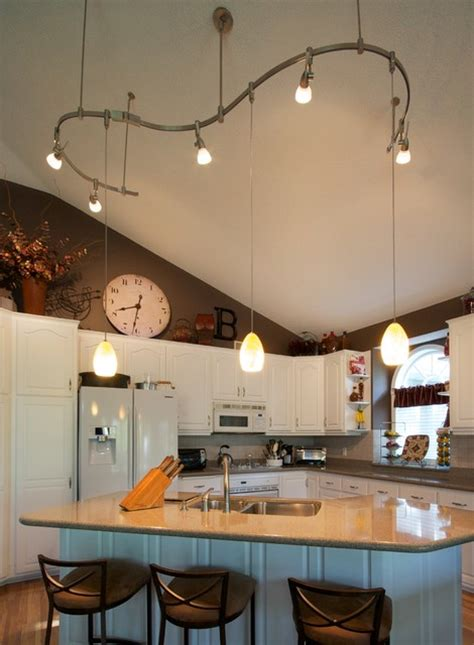 Track Lighting For Vaulted Ceilings Kichen 120 Volt Two Circuit Rail Installation Traditional Kitchen Minneapolis By