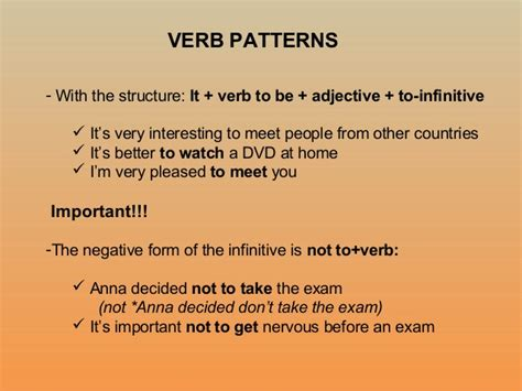 verb pattern take verb patterns 8 c revision and more