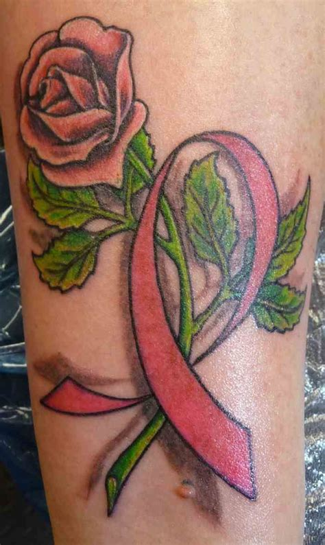 rose tattoo with breast cancer ribbon 25 best ideas about pink ribbon tattoos on
