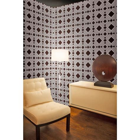 removable wallpaper clean diamond modern classic brown silver geometric removable