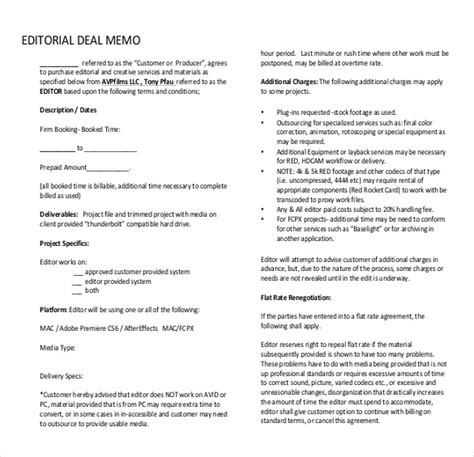deal memo template 10 free word pdf documents download