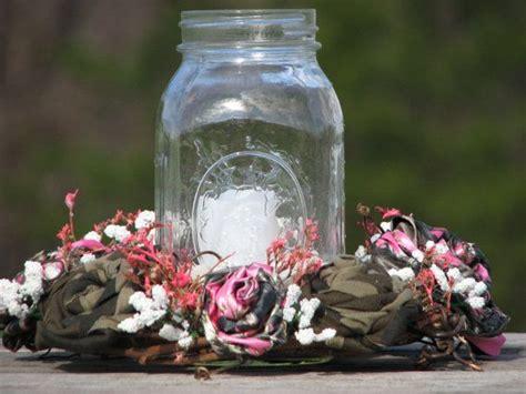 pink camo wedding centerpiece candle ring mason jar