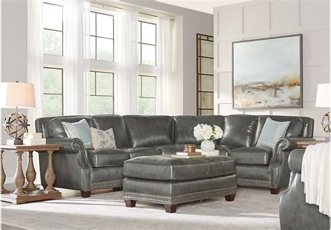 Frankford charcoal 4 pc leather sectional living room leather sectionals gray