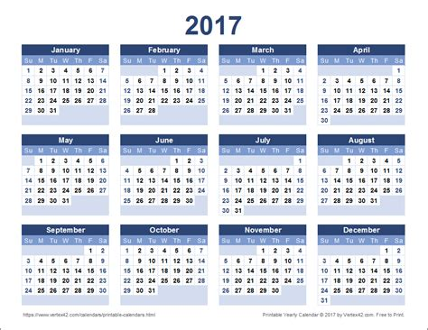 printable calendar year 2017 2017 calendar templates and images