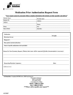 fillable medication prior authorization request