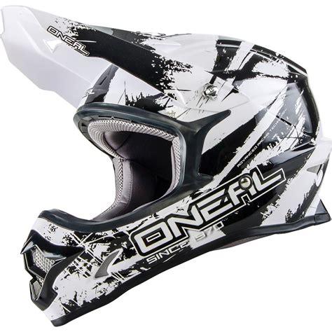 oneal motocross helmet oneal 3 series shocker black white motocross helmet