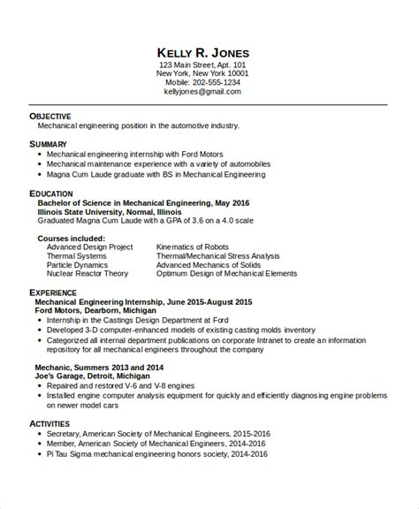 Resume For Mechanical Engineering Student by 9 Mechanical Engineering Resume Templates Pdf Doc
