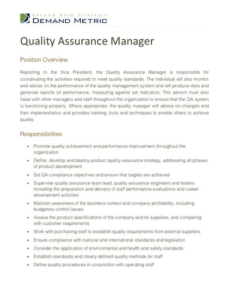 Quality Managers Resume by Resume Quality Assurance Manager Http Jobresumesle