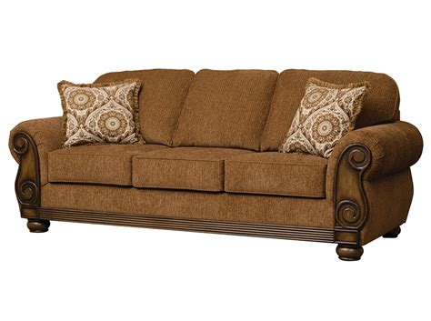 wood trim sofas serta 8000 brazil wood trim sofa delano s furniture and
