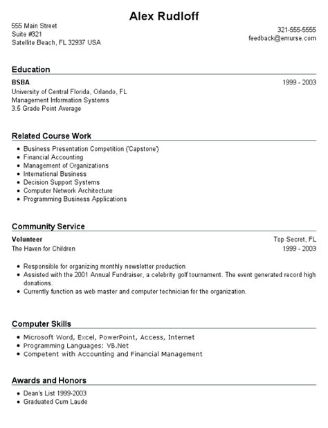 resume exles for students with no work experience no experience required no experience resume sle