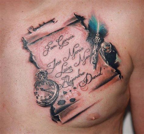 3d chest tattoo realistic clock chest lettering 3d by nadelwerk