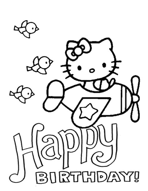 hello kitty airplane coloring page hello kitty plane and birds birthday coloring page h m
