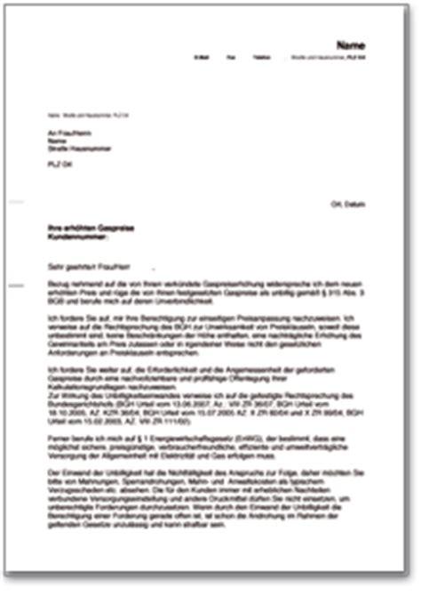 Gez Anschreiben Adrebe Widerspruch Gegen Die Preiserh 246 Hung Eines Gasversorgers