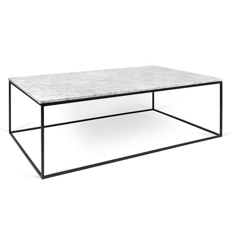 Gleam Long White Marble   Chrome Modern Coffee Table
