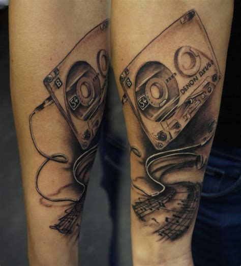 headphone tattoo designs cassette and headphones best design ideas