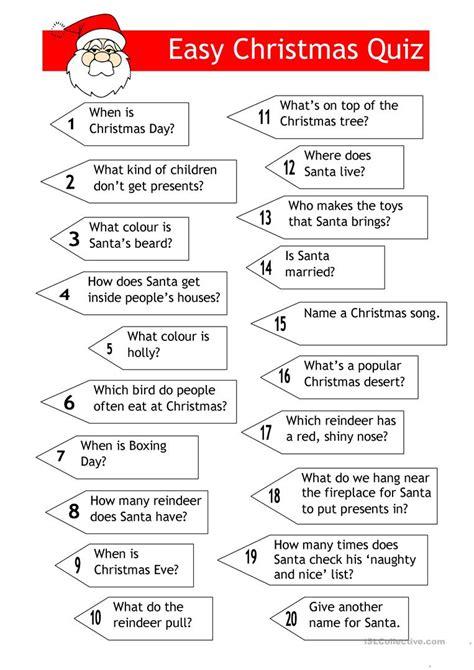free printable christmas games for young adults quiz easy xmas quiz worksheet free esl printable