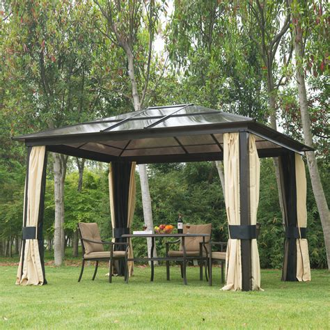 canopy gazebo 12 x10 outdoor patio canopy gazebo shelter hardtop
