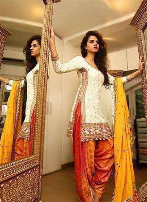 buy assam silk salwar kameez online designer punjabi suit floral white with orange embroidered and lace work punjabi