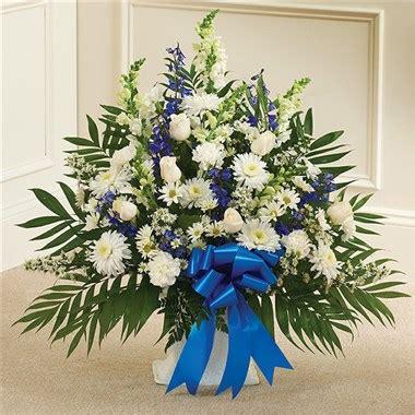 pink flower floor l blue white sympathy floor basket 1 800 flowers 4 gift